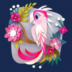 Im a fan of all birds, but Australian Pink Cockatoos may just take the cake. Their beautiful colors beg to be put on paper! This is a digital print of an original paper-cut piece. Printed with an Ep (Beauty Design On Paper) Cockatoo Print by Brittney Lee 3d Paper Art, Paper Artwork, Diy Paper, Paper Crafts, Kirigami, Brittney Lee, Cut Out Art, Paper Illustration, Illustrations