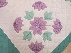 """Vintage OLD Hand Sewn Cotton APPLIQUE PURPLE FLOWER (Violets?) QUILT; 93"""" x 78"""""""