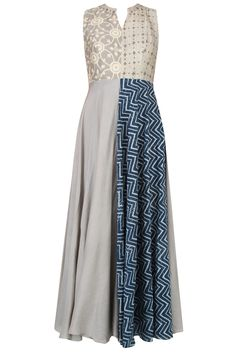 Grey half and half printed and chevron layered maxi dress available only at Pernia's Pop Up Shop.