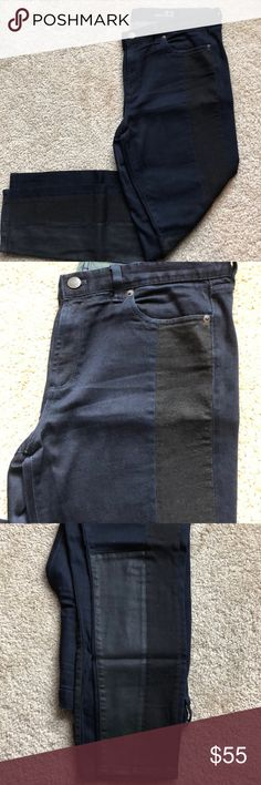 42d58be92a7 JCrew- Midrise Toothpick Jean Dark Indigo -32 Size -32R We ve combined a  super-dark with black denim side-seam panels and panels of black coated  denim at ...