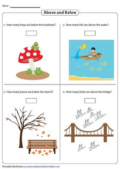 Counting Objects Above and Below Learning Time, Preschool Learning, Kindergarten Math Worksheets, Maths, Introduction To Geometry, Letter V Crafts, Geometry Worksheets, Math About Me, Homework