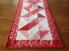 Valentine Ribbons 15x39 quilted table runner