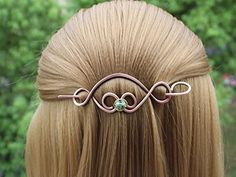 Celtic Hair Clip Barrette Wire Wrapped Green Bead, Shawl Pin Scarf Slide, Hair pins decorative, Copper Accessories *** Want additional info? Click on the image.