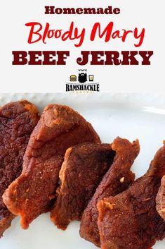 Bloody Mary Beef Jerky Recipe, Bloody Mary Recipes, Cajun Beef Jerky Recipe, Vegan Quesadilla, Beef Jerky Marinade, Beef Jerkey, Pork Jerky, Jerkey Recipes, Homemade Beef Jerky