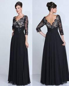 Custom Made Black Lace Sexy V-neck Evening Gown Long Chiffon Plus Size Mother of the Bride Evening Dresses 2016