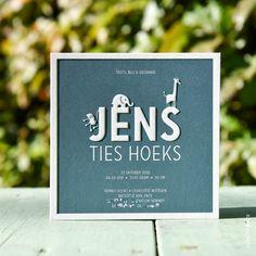 Een kaartje op maat ontworpen voor Jens. De diertjes hebben we op zijn naam gezet.