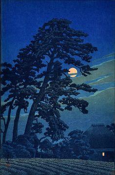 Moon at Megome (1930) woodblock print by Hasui Kawase