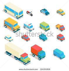 Isometric city transport and trucks vector icons. Cars, minibus, bus, jeep, police car, taxi, ambulance 3d set. Transportation illustration, vehicle design