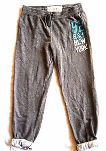 Girls Size XL Abercrombie & Fitch Sweatpants, Cuffed Slouch Bottom, Gray, NY. $3.99