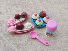 Fisher-Price Play Food Ice Cream Sundae Cupcakes Frosting Banana Split #FisherPrice