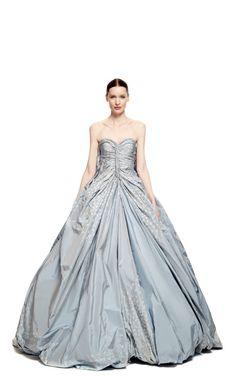 Butterfly Taffeta Strapless Princess Gown by Zac Posen for Preorder on Moda Operandi
