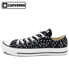 (118.15$)  Buy here - http://ai7ay.worlditems.win/all/product.php?id=32792557531 - Original Converse All Star Shoes Hand Painted Music Notes Custom Design Black Low Top Canvas Sneakers for Gifts