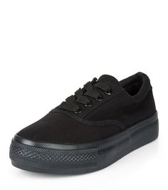 Teens Black Lace Up Flatform Plimsolls  | New Look