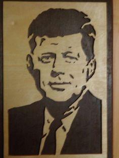 #Portrait #J.F. Kennedy aus #Holz #Deko