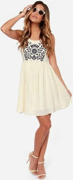 - Navy Floral Embroidery Dress ~ Very Cute - #fashion #style #dress #floral #embroidery http://www.pinterest.com/TheHitman14/hey-ladies-style-fashion/