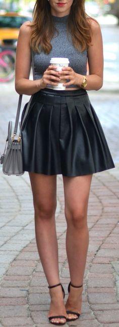 Leather pleated mini + grey crop top.
