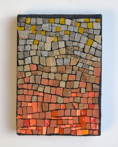"""""""Core temperature"""" (2014) by Julie Sperling, 6"""" x 4.25"""", smalti, terracotta, stone. Done for Week 17 of the Institute of Mosaic Art's weekly challenge (theme: elements)"""