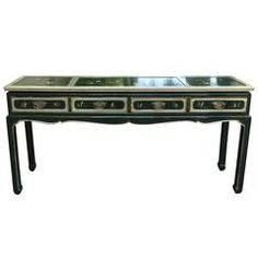 Midcentury Laquered Green Chinoserie Sofa Table