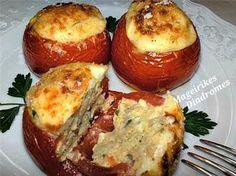 Ντομάτες γεμιστές με μελιτζάνες!!! - Filenades.gr Greek Cooking, Recipe Images, Greek Recipes, Baked Potato, Veggies, Potatoes, Baking, Ethnic Recipes, Food