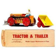 c.1941 Marx Tractor, Trailer & Plow Set in Original Box