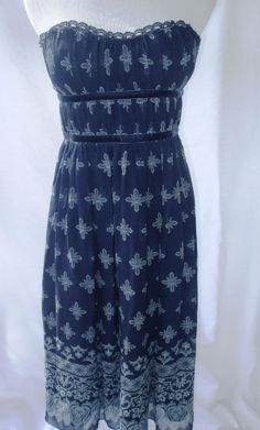 Women Strapless Dress Max and Cleo 100% Silk Blue Floral Corset Sundress Small 6