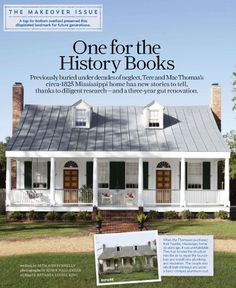 Great tin roof on renovated farmhouse. Click through to article for high-res shot of reclaimed brick steps. Love.