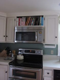 maybe our microwave could be done like this above the stove? remove all of the existing cabinet above. ??