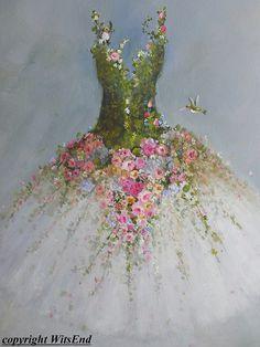 tutú: LA DANZA DEL JARDÍN  RESERVADO PARA HILDA  Un tutu con un valor de jardines de rosas, margaritas, hortensias, lirio del valle, te olvides de mí nots, flores silvestres, enredaderas, un señora bug o dos... e incluso un par de delicados picaflores!  DATOS DE  Esta pieza es una totalmente pintada a mano original por el vendedor (© witsend) en una galería se extendía la lona y puede aparecer sin un marco o fácilmente puede hacer estallar en un tamaño estándar, marco prefabricado.  La pieza…