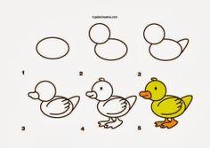 kerajinan anak TK/SD, langkah/cara menggambar bebek & mewarnai