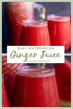 A healthy and a perfect thirst quencher! Delicious and refreshing watermelon ginger juice or cooler with the hint of nannari syrup. #drink #watermelondrink #gingercooler #vegan #healthy | vidhyashomecooking.com @srividhyam