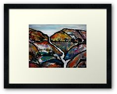 Landscape - Abstract Collage framed print by artist Angela Gannicott.  A wonderful gift.