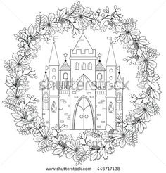 Relaxing coloring page with fairy castle in forest wreath for kids and adult, art therapy, meditation coloring book vector illustration, printable sheet. Fairyland fantasy castle in black and white