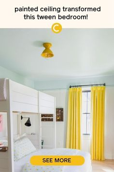 A painted ceiling, like this one in Headspace by Clare, adds a pop of color to any bedroom. This tween bedroom makeover is a must-see. Full of bedroom decor ideas for your tween or teen.#bedroommakeover #bedroompaintcolors #bluepaintcolors Raw Wood Furniture, Custom Furniture, Picture Rail Molding, Best Blue Paint Colors, Colored Ceiling, Bedroom Paint Colors, Headspace, Modern Spaces, White Walls