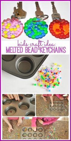 Make Melted Bead Keychains love this - melted bead keychains for a kids craft idea (would even make a great diy gift!) - - Sugar Bee Craftslove this - melted bead keychains for a kids craft idea (would even make a great diy gift! Crafts For Teens To Make, Projects For Kids, Diy For Kids, Craft Projects, Craft Ideas, Cool Kids, Diy Ideas, Bee Crafts, Easy Crafts