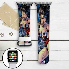 Wonder Woman DC Comics Custom Apple Watch Band Leather Strap Wrist Band Replacement