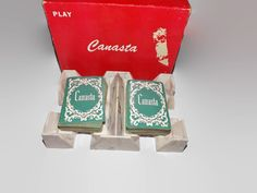 Vintage 1950s Canasta Set, Card Tray, Two Decks Of Playing Cards, Instructions, Card Game, Multi Player by JandDsAtticTreasures on Etsy