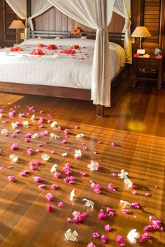 Romantic Rose Petals in an overwater bungalow in Bora Bora