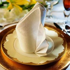 pliage-serviette-tissu-blanche-occasion-spéciale - 35 Beautiful Examples of Napkin Folding <3 <3
