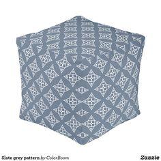 Slate grey pattern pouf Blue Cushions, Grey Cushions, Grey Home Decor, Grey Pattern, Decorative Cushions, Slate, Light Blue, Art Pieces, Throw Pillows