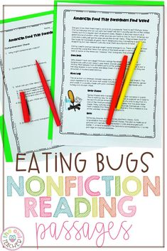 Eating Bugs Nonfiction Reading Passages - The Owl Teacher Teaching Social Studies, Teaching Writing, Teaching Science, Teaching Tips, Reading Comprehension Skills, Reading Passages, Teacher Lesson Plans, Teacher Resources, Upper Elementary Resources