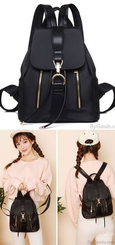 Leisure Oxford Splicing PU Draw String Flap Black Summer Waterproof School  Backpack for big sale! d8329682c5