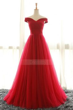 Simple red off shoulder tulle long prom dress, red evening dress, red tulle long formal dress for teens