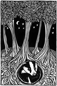 Badger Moon by Anita Inverarity. A girl instead of a badger. Art And Illustration, Badger Illustration, Linocut Prints, Art Prints, Wood Engraving, Woodblock Print, Printmaking, Illustrators, Cool Art