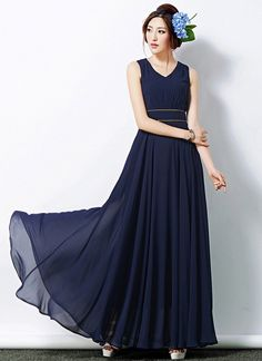 V Neck Navy Maxi Dress with Brown Piping on Waist Yoke