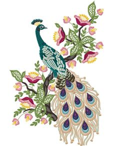 Machine Embroidery Design  Peacock 4 in1 by FanEmbroidery on Etsy