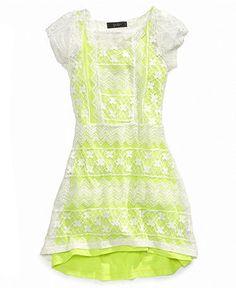 Jessica Simpson Kids Dress, Girls Neon Crochet Dress - Kids Girls 7-16 - Macy's
