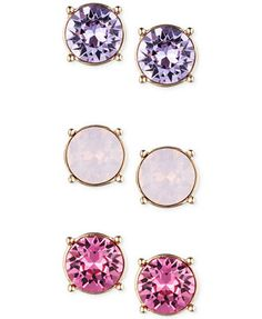 Nine West Gold-Tone Purple and Pink Stud Earring Trio