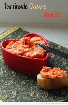 tartinade chorizo 50 g de fromage de chèvre frais 1 cas de concentré de tomates 100ml d eau100g de chorizo mixer et frigo jusqu au moment de servir