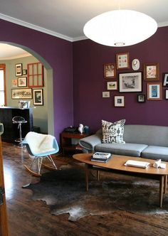 Purple wall with grey furniture!  LOVE!