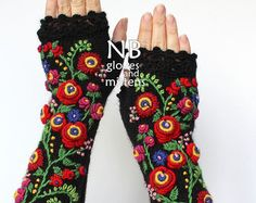 Balck Long Gloves With Embroidery Knitted Fingerless Gloves 31 cm Long Accessories Gloves & Mittens Black Yellow Red Green Purple Dela&Modella Fingerless Gloves Knitted, Crochet Gloves, Knit Mittens, Knitting Accessories, Winter Accessories, Fashion Accessories, Handmade Accessories, Gloves Fashion, Women Accessories